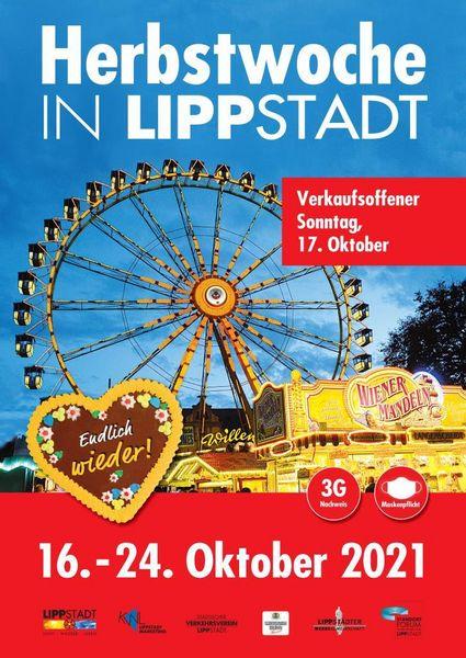 Plakat zur Herbstwoche 2021 mit Riesenrad und Wiener Mandel Stand